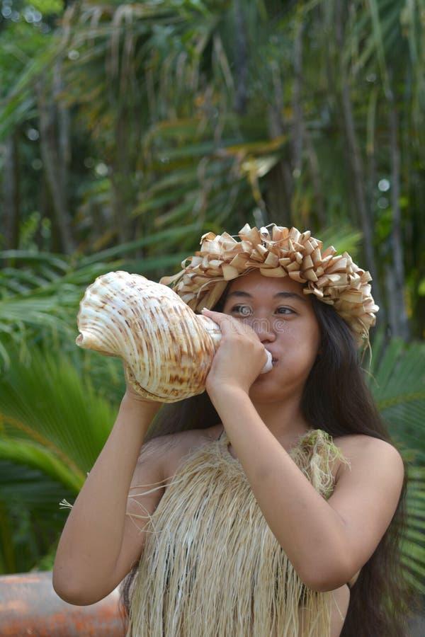 Shell de sopro do búzio da mulher polinésia de Islander do cozinheiro em Rarotonga fotografia de stock royalty free