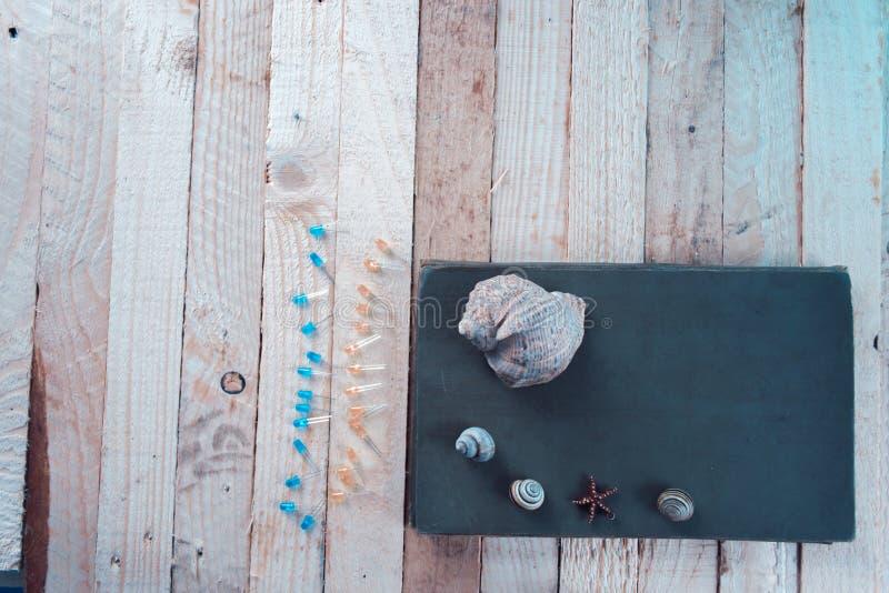 Shell do mar na tabela perto do caderno imagem de stock royalty free