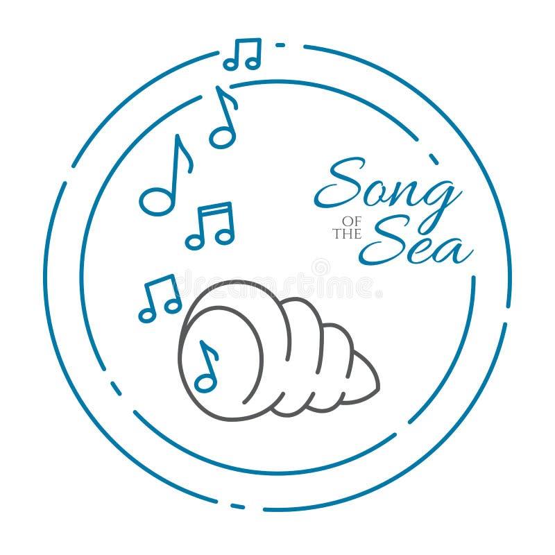 Shell do oceano com as notas musicais que fazem o som do mar na linha arte isolado no fundo branco ilustração stock
