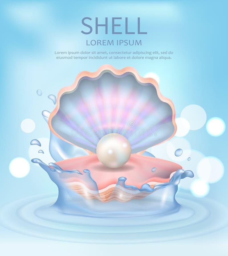 Shell Elegant Poster con l'illustrazione di vettore del testo illustrazione vettoriale