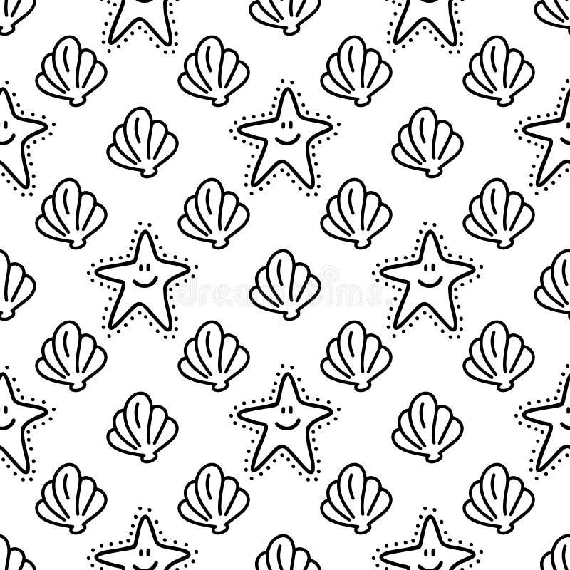 Shell et l'étoile de mer gribouillent le modèle sans couture tiré par la main illustration libre de droits