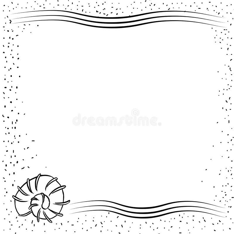 Shell et sable - fond de cadre illustration de vecteur