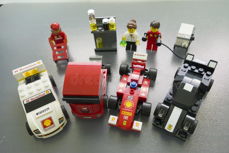 Shell Ferrari Lego toys. Limited edition royalty free stock image