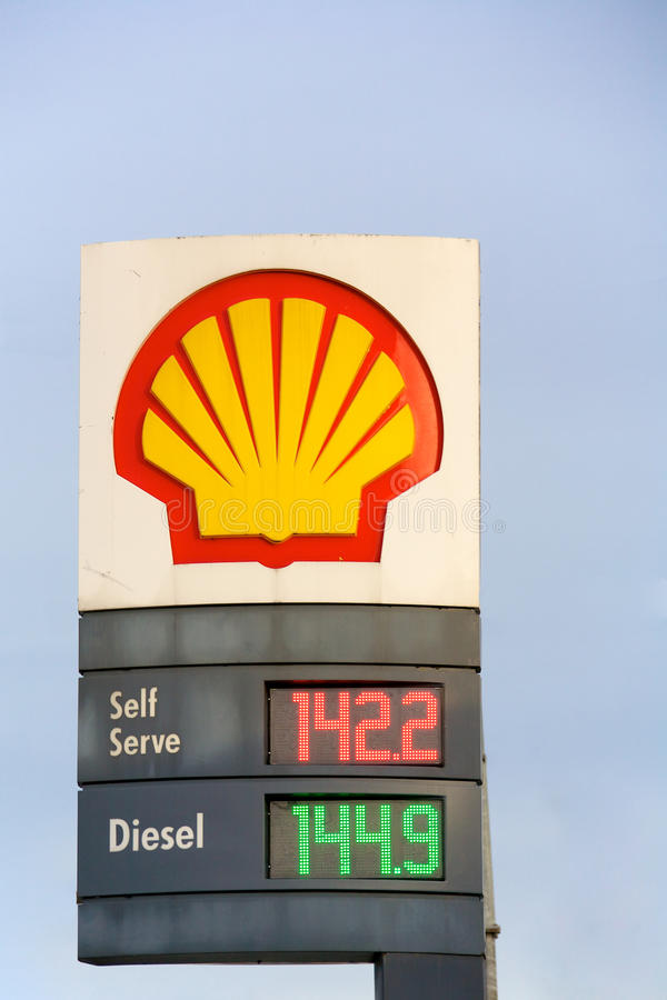 Shell Gas Station. A Shell Gas station price board in Greater Vancouver Canada showing recent spike in gas prices stock images