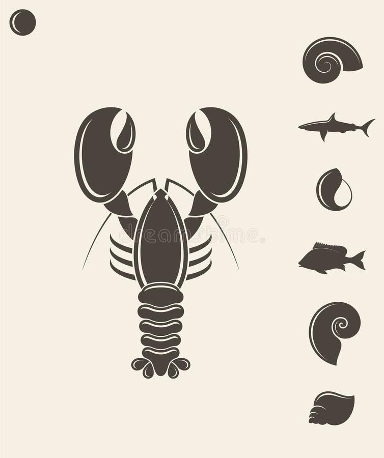 Shell homar Ryba ilustracji