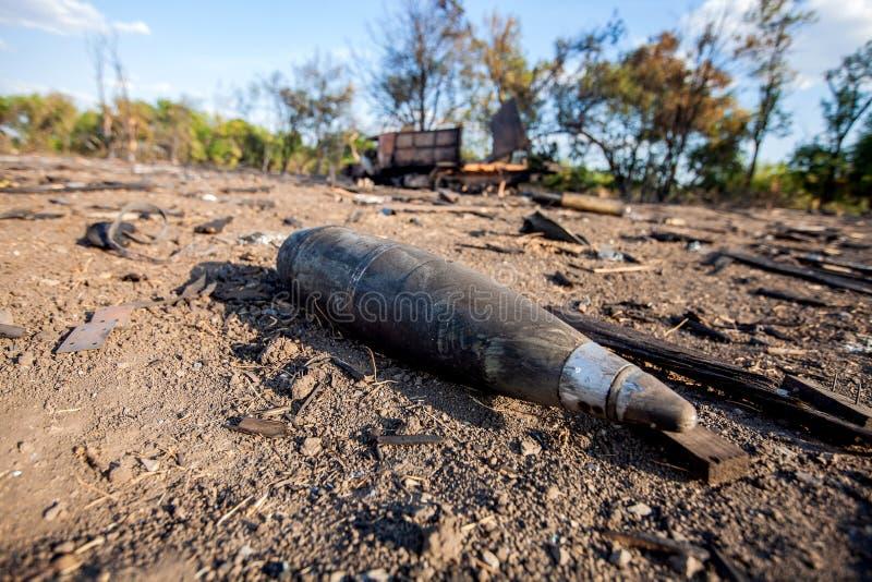 Shell, krighandlingefterdyning, Ukraina och Donbass konflikt fotografering för bildbyråer