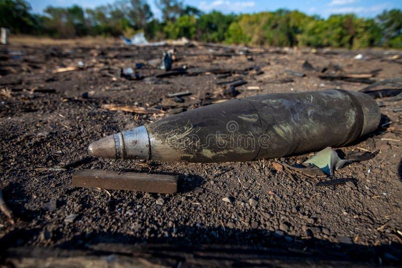 Shell, krighandlingefterdyning, Ukraina och Donbass konflikt arkivfoto