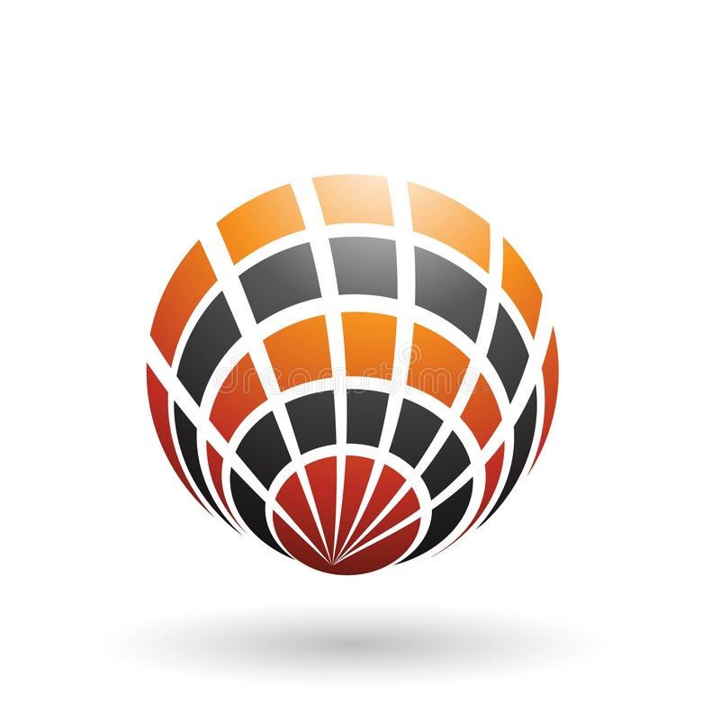 Shell Like Round Icon orange et noire d'isolement sur un fond blanc illustration de vecteur