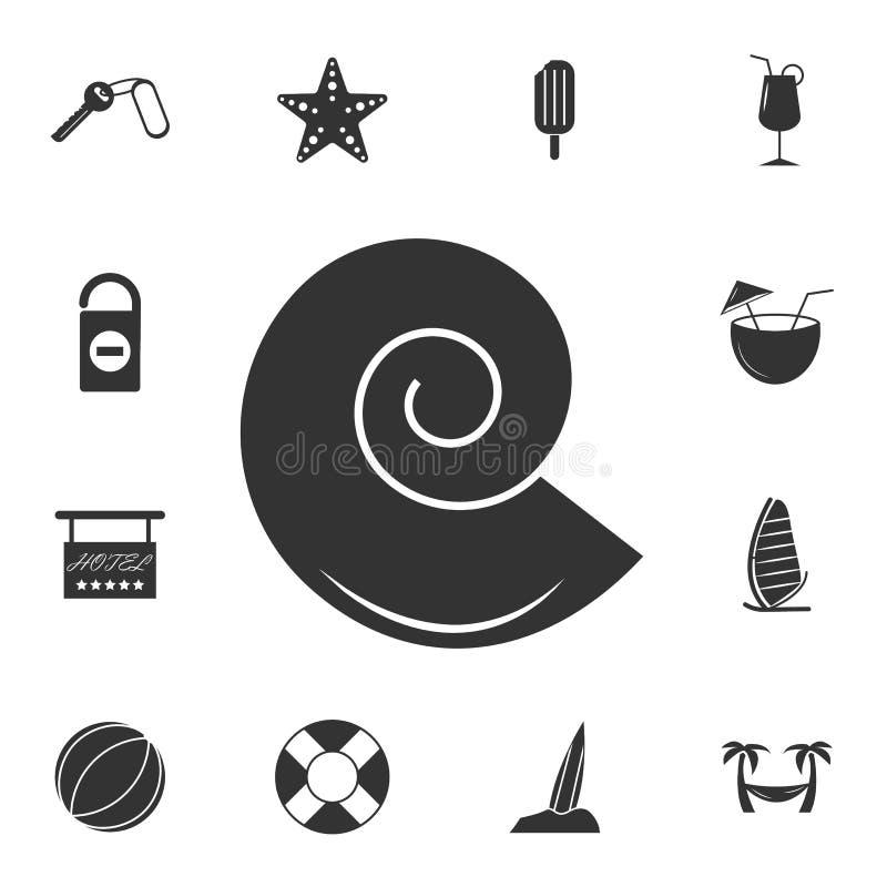 Shell logo Mollusk ikona Szczegółowy set podróży ikony Premia graficzny projekt Jeden inkasowe ikony dla stron internetowych, sie ilustracji