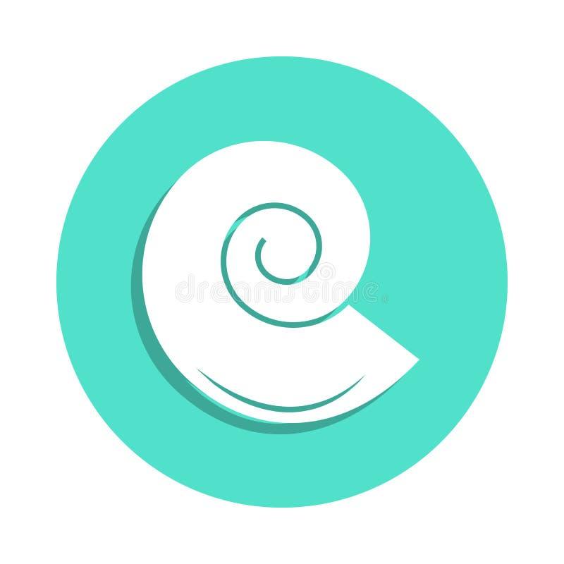 Shell logo Mollusk ikona w odznaka stylu Jeden podróży inkasowa ikona może używać dla UI, UX royalty ilustracja