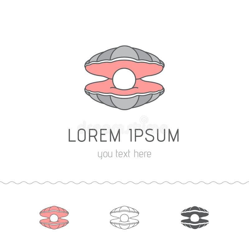 Shell med en pärla, logodesign Plant stilvektorobjekt royaltyfri illustrationer