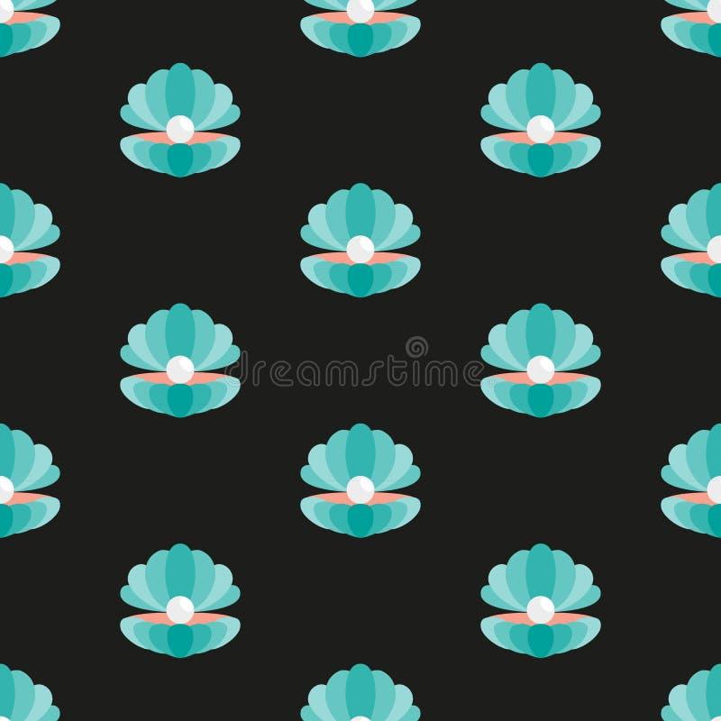 Shell met een parel Patroon stock illustratie