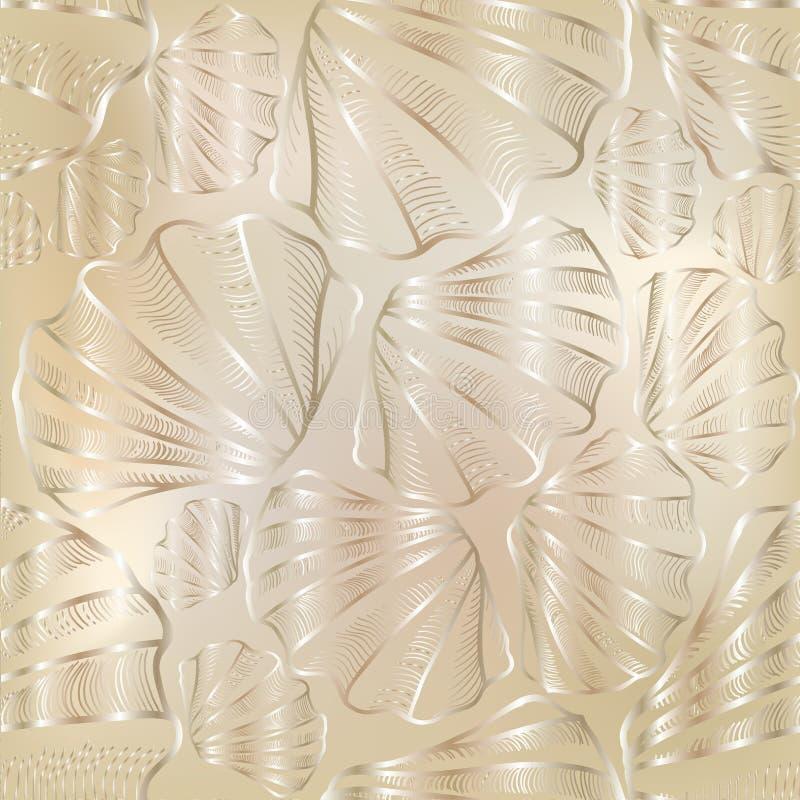 Shell naadloos patroon Overzeese shell stexture stock illustratie