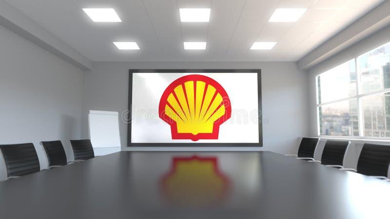 Shell Oil Company logo på skärmen i en mötesrum Redaktörs- tolkning 3D royaltyfri illustrationer