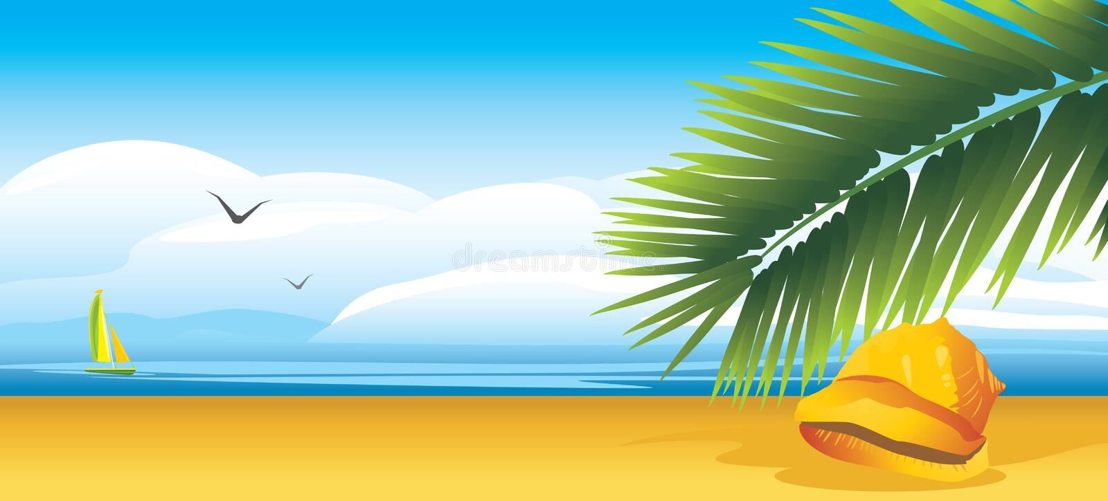 Download Shell And Palm Branch Stock Photography - Image: 25406462
