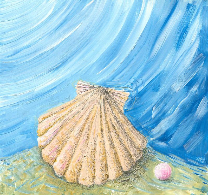 Shell & pearl royalty free illustration