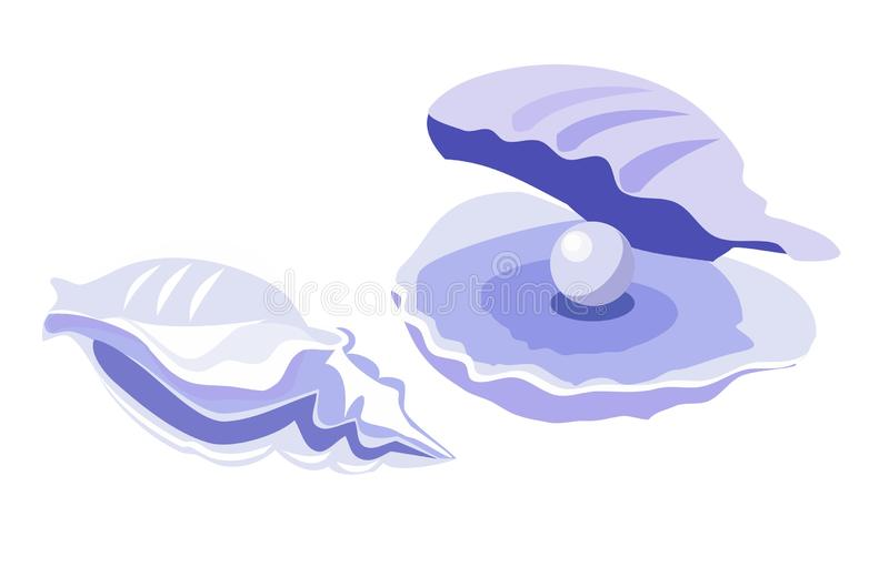 Shell pearl illustration stock illustration