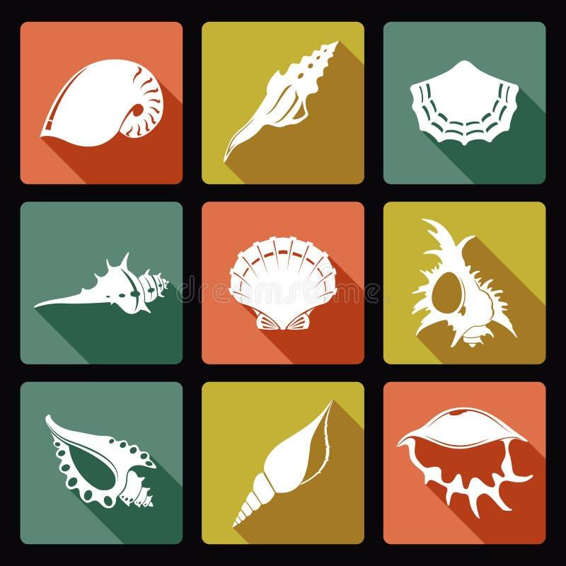 Shell-pictogrammen royalty-vrije illustratie