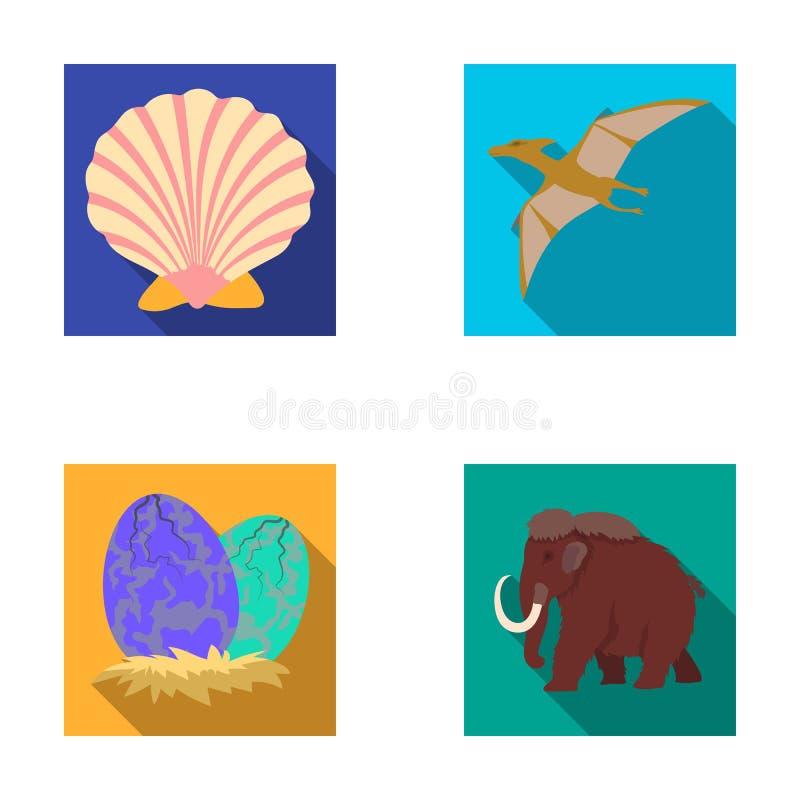 Shell pré-histórico, ovos de dinossauro, pterodátilo, gigantesco Dinossauro e ícones ajustados da coleção do período pré-históric ilustração do vetor