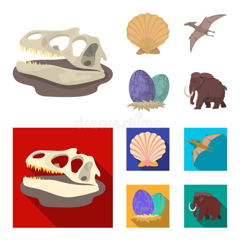 Shell pré-histórico, ovos de dinossauro, pterodátilo, gigantesco Dinossauro e ícones ajustados da coleção do período pré-históric ilustração royalty free