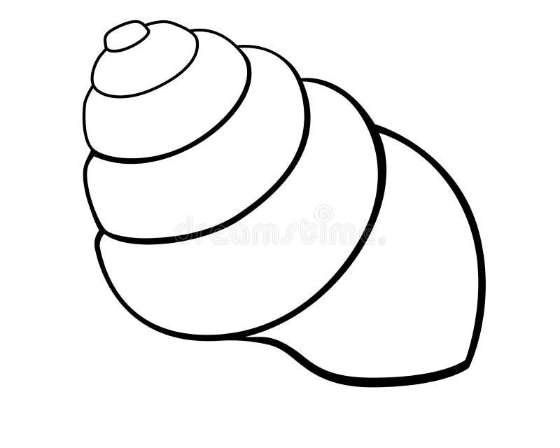 Shell-Schnecke oder -molluske Seemuschel Seemuscheltier - Vektorbild für die Färbung vektor abbildung