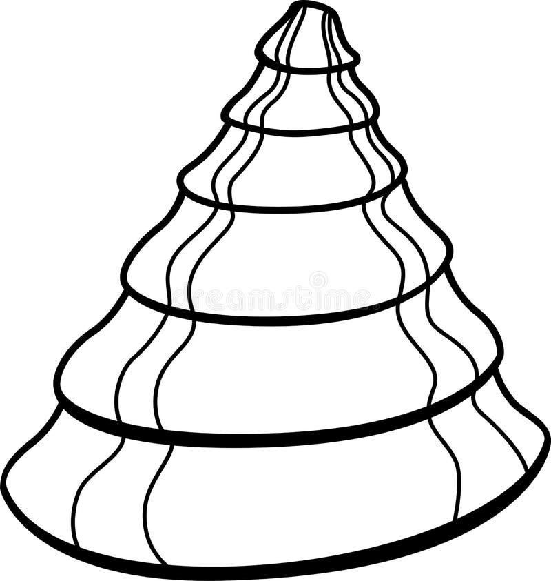 Shell-Schnecke oder -molluske Seemuschel Seemuscheltier - Vektorbild f?r Malbuch Shell in Form eines Kegels stock abbildung