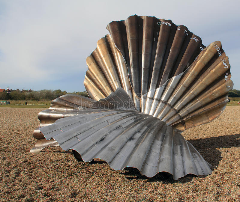 Shell sculpture. A large shell sculpture on Southwold beach royalty free stock photo