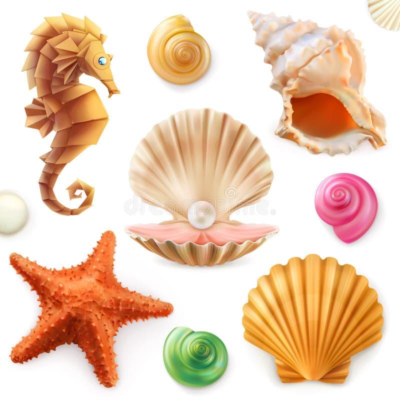 Shell snigel, blötdjur, sjöstjärna, havshäst set för symbol 3d vektor illustrationer
