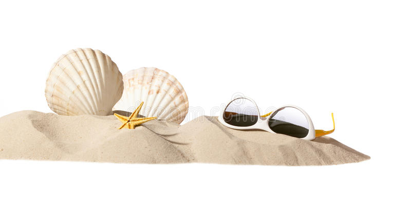 Download Shell And Sunglasseson Beach Stock Image - Image: 19138917