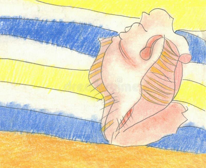 Shell sur la couverture à la plage illustration de vecteur