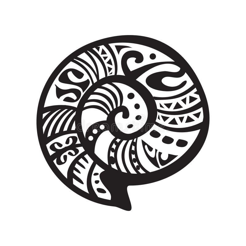 Shell tattoo in Maori style. Vector illustration EPS10 royalty free illustration
