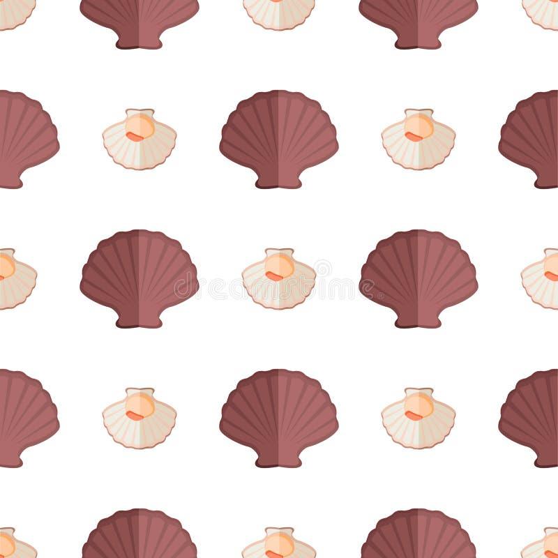 Shell- und Mollusken-Muster-Vektor-Illustration vektor abbildung
