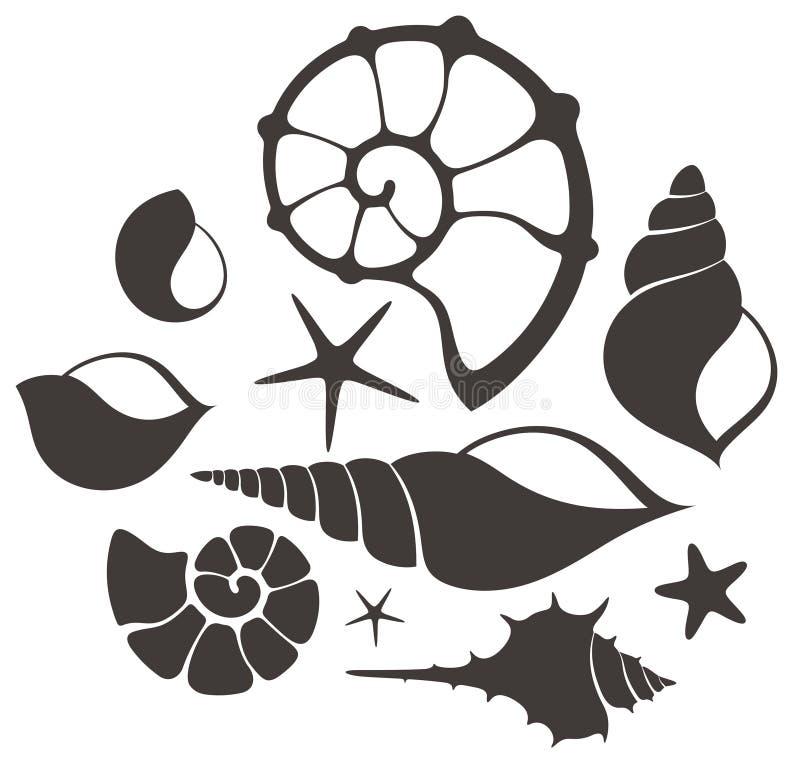 Shell. Uppsättning stock illustrationer