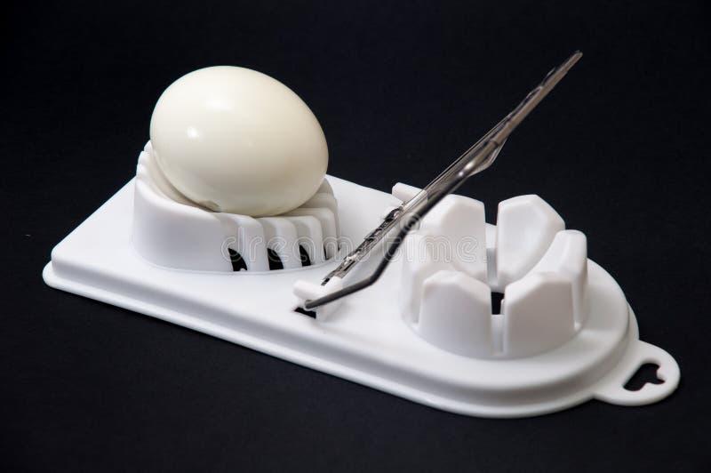 Shelled kokade ägget på en vit avbrytar- och svartbakgrund royaltyfri bild