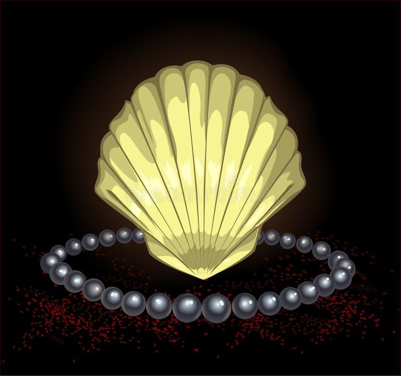 Shelles negros preciosos de la perla ilustración del vector