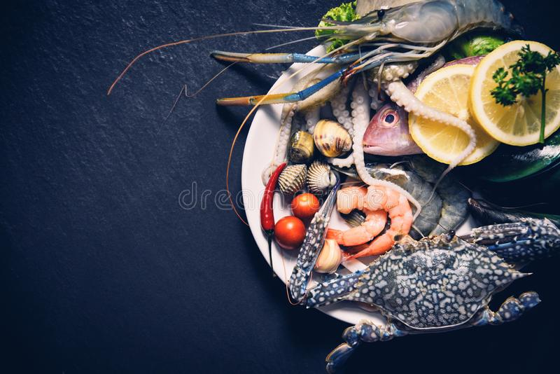 Shellfish seafood plate with shrimps prawns crab shell cockles mussel squid and fish ocean gourmet dinner royalty free stock photos