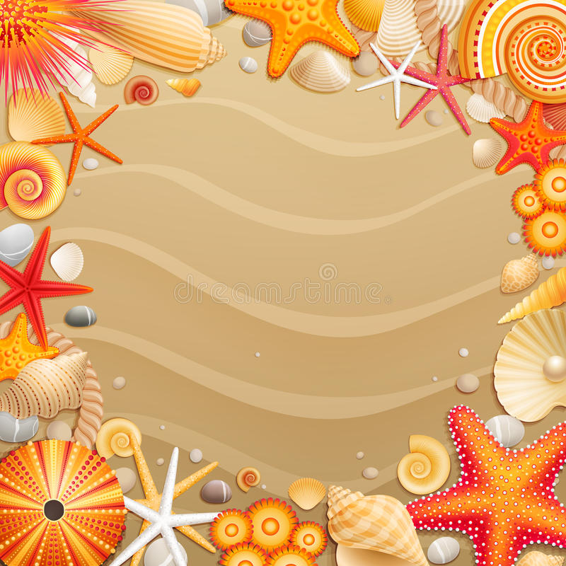 Free Shells And Starfishes On Sand Background. Royalty Free Stock Image - 20843566