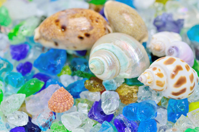 Download Shells And Colored Glass. Stock Photo - Image: 25614720