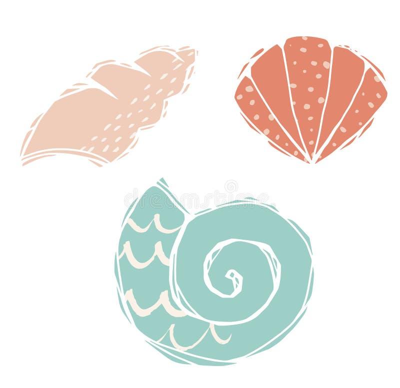 Shells die druk graveren Leuk overzees dier Koele oceaanillustratie vector illustratie