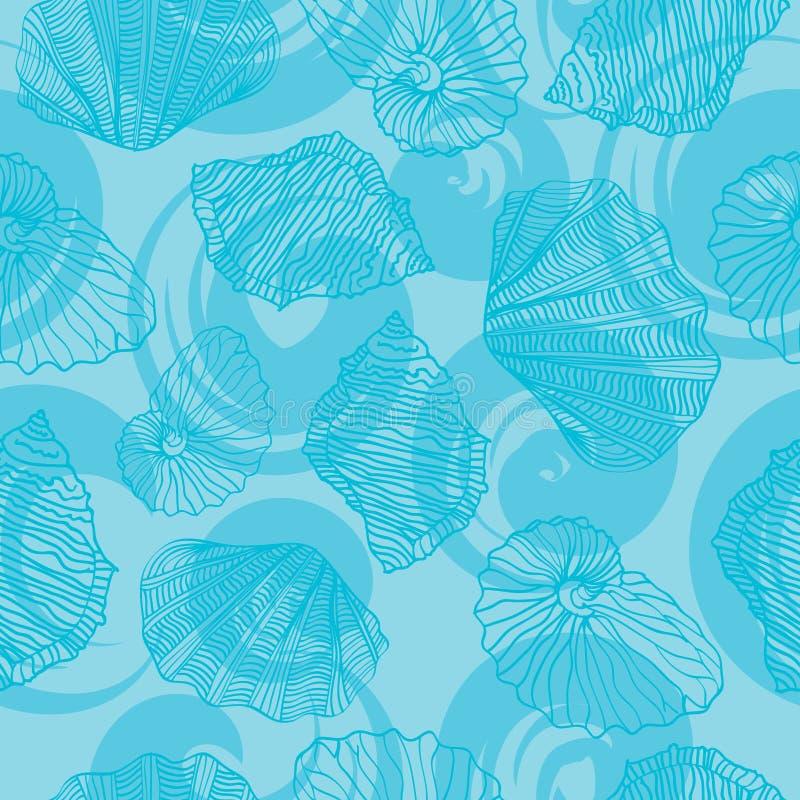 Shells en golvenkrullen Naadloos vectorpatroon stock illustratie
