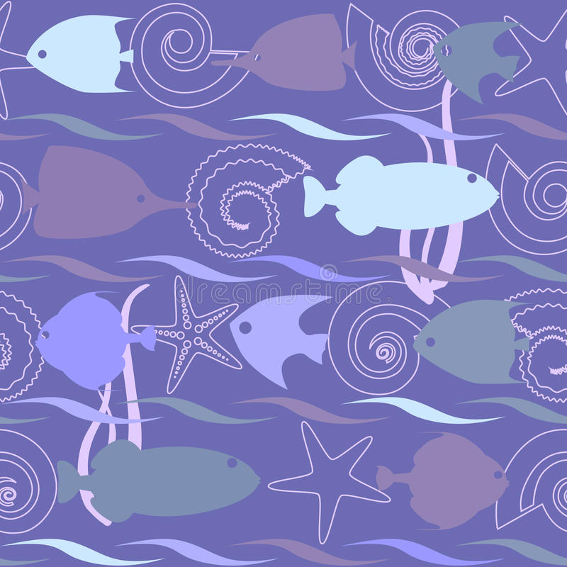 Shells and fish seamless pattern. Shells and fish seamless background with stripes royalty free illustration