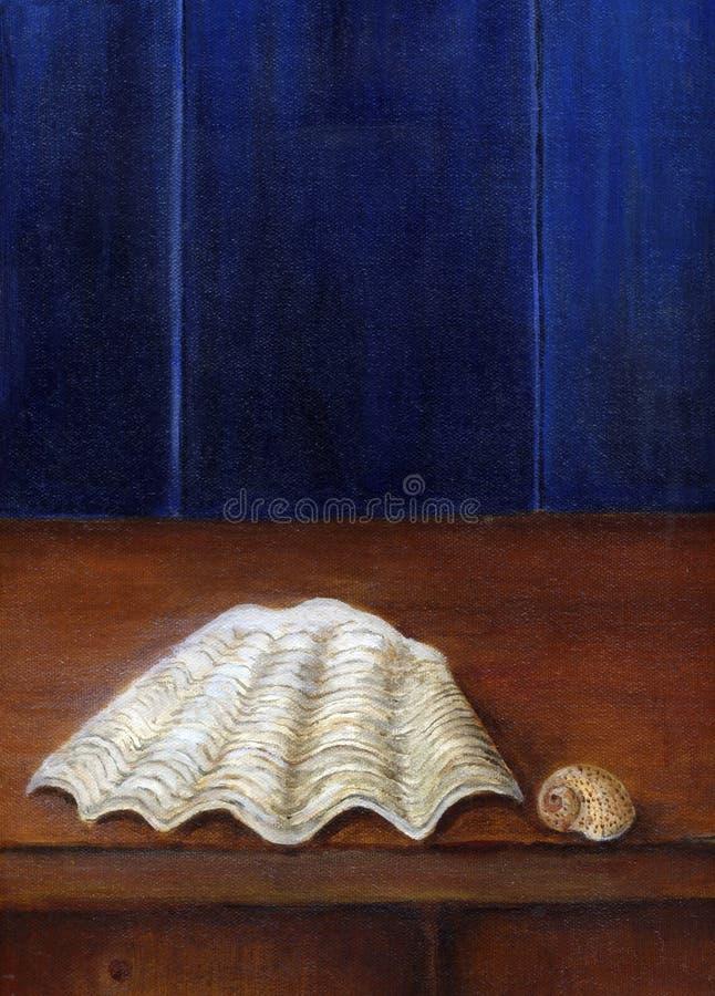 Shells met blauwe background1 royalty-vrije illustratie