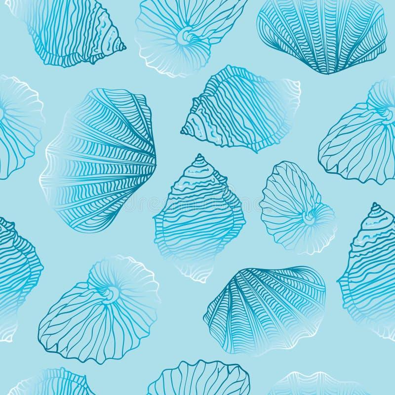 Shells Naadloos vectorpatroonmalplaatje stock illustratie