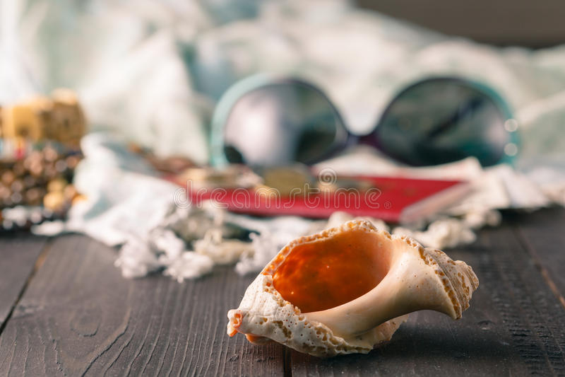 Shells, pareo on the wooden background stock photos