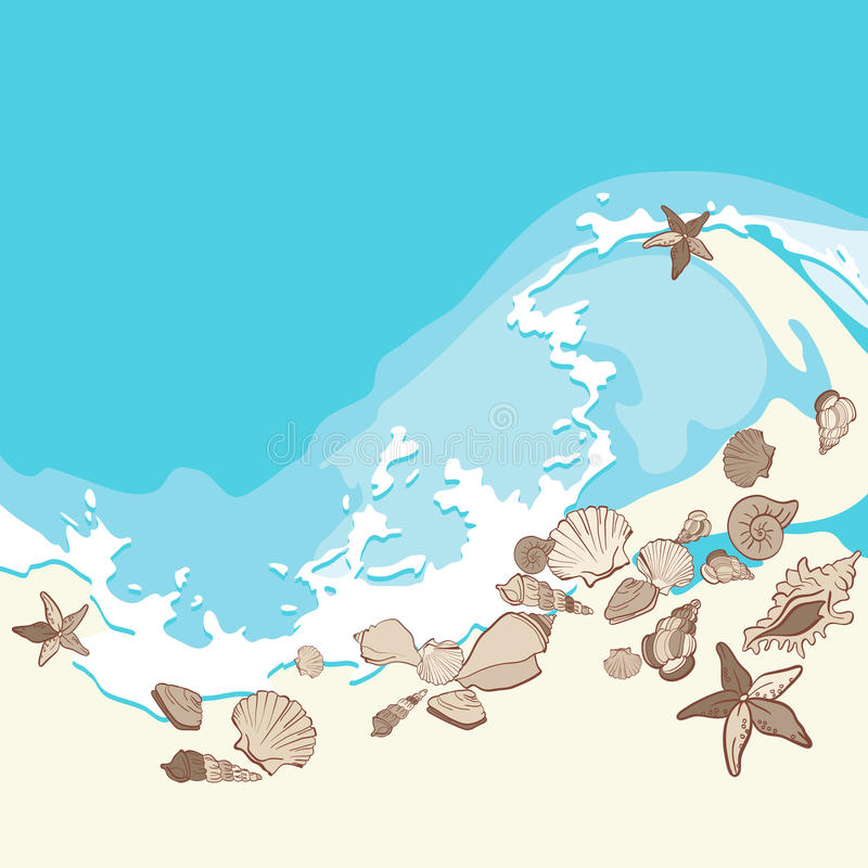 Shells and starfishes on sand background royalty free illustration