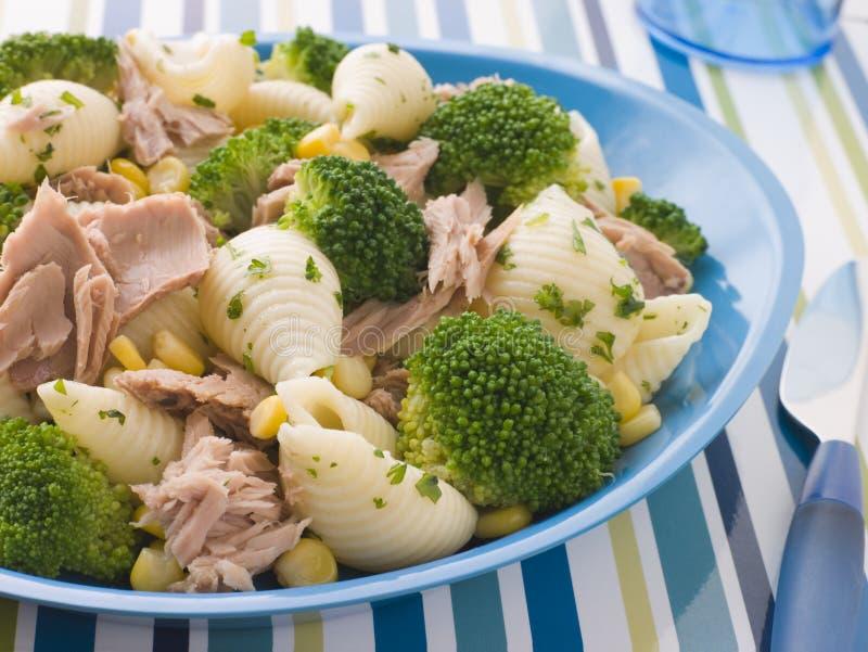 Shells van de Deegwaren van de tonijn en van Broccoli stock fotografie