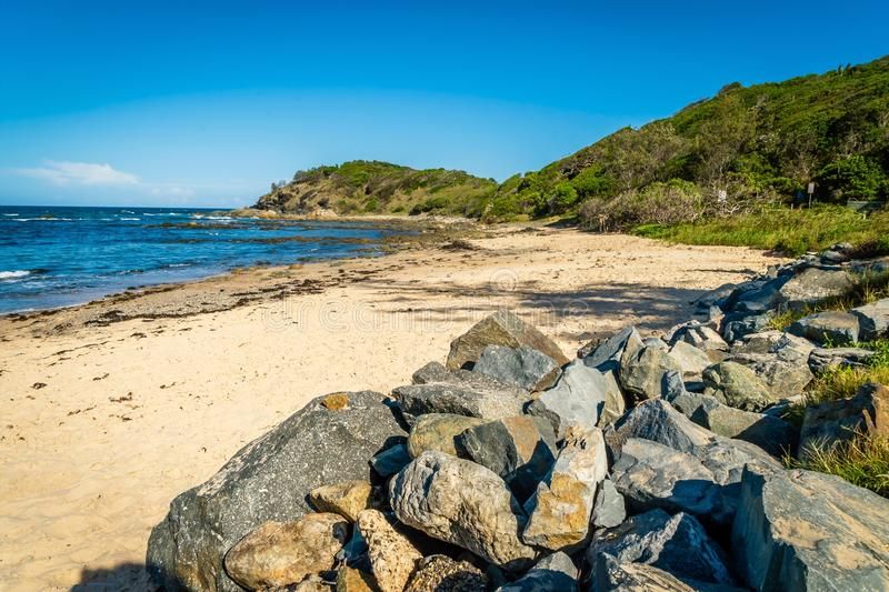 Shelly Beach no porto Macquarie em Austrália imagem de stock