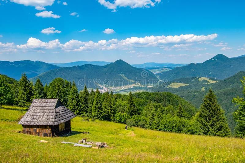 Shelter cabin hut with view to valley, Velka Fatra, Western Carpathians, Slovakia stock image