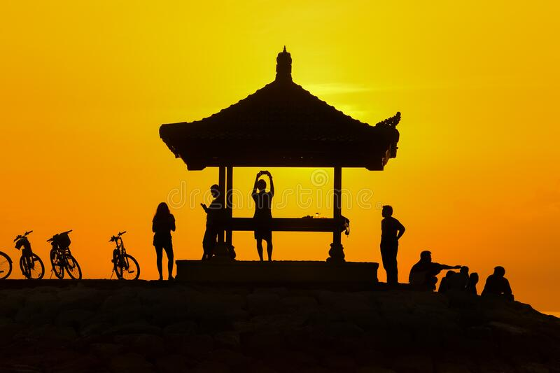 Shelter on hill top at sunset royalty free stock images