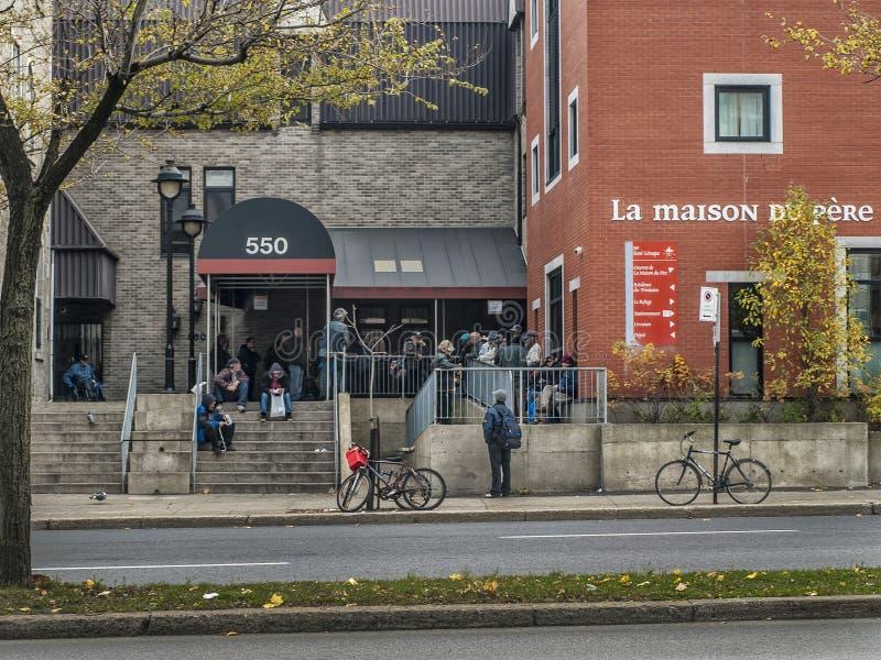 Shelter for homeless Montreal stock image